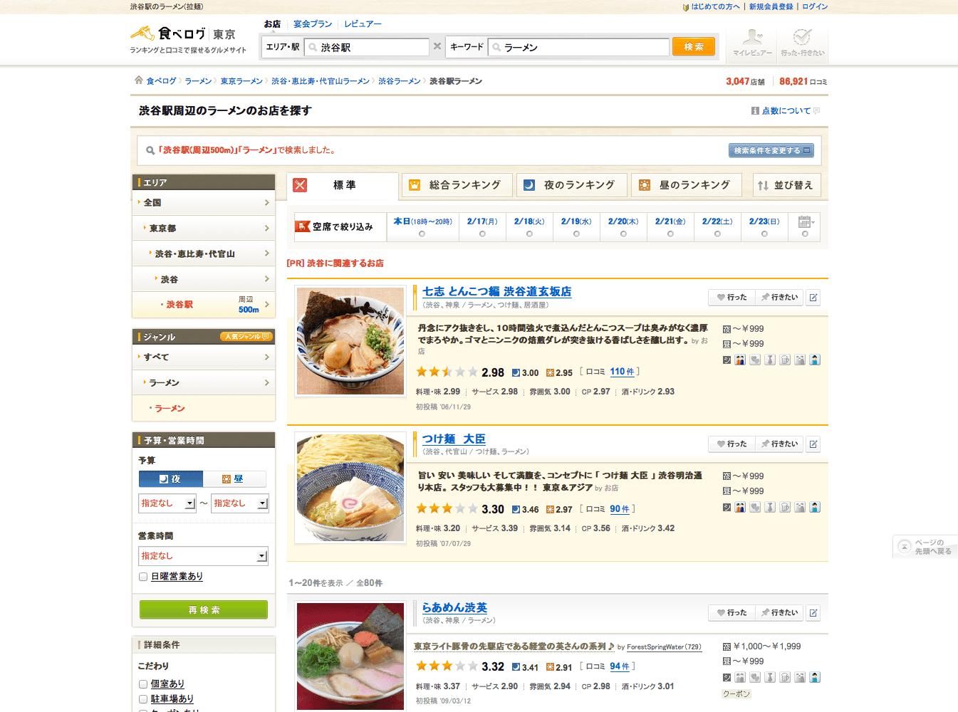 食べログの検索結果